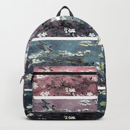 Vincent Van Gogh Almond Blossoms Panel Dark Pink Eggplant Teal Backpack
