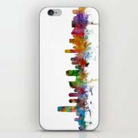 new jersey iPhone & iPod Skins featuring Jersey City New Jersey Skyline by artPause