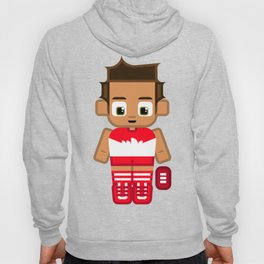 Super cute sports stars - Red and White Aussie Footy Hoody