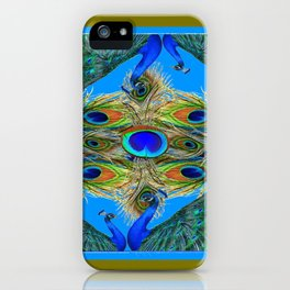 BLUE PEACOCKS KHAKI COLOR  FEATHER PATTERNS ART iPhone Case