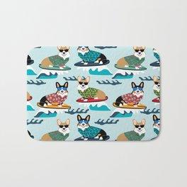 corgi surfing dog pattern corgis Bath Mat