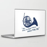 how i met your mother Laptop & iPad Skins featuring How I Met Your Mother - Blue French Horn by Victoria Schiariti