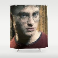 harry potter Shower Curtains featuring Harry Potter - Geo by lauramaahs