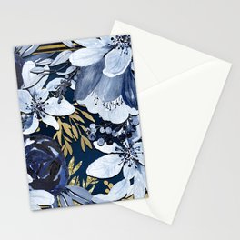 Navy Blue & Gold Watercolor Floral Stationery Cards