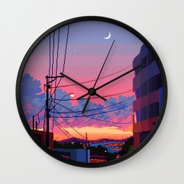 City Moonset Wall Clock