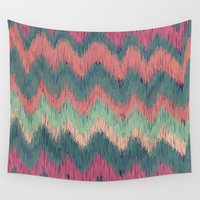 ikat Wall Tapestries featuring IKAT CHEVRON by Nika