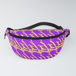 Wicker pattern of squiggles and yellow ropes on a violet background. Fanny Pack