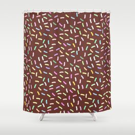 chocolate Glaze with sprinkles. Brown abstract background Shower Curtain