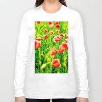 poppies Long Sleeve T-shirts featuring Poppies by Falko Follert Art-FF77