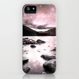 Magical Mountain Lake Pink & Gray iPhone Case