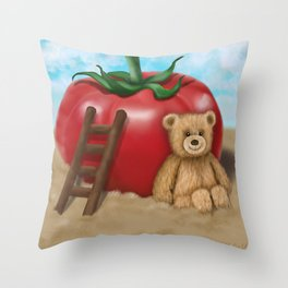 Teddy & Tomato - The Original Artwork for kids Throw Pillow