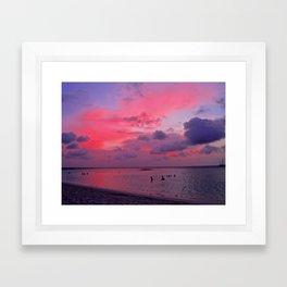 Swimming Towards Sundown Framed Art Print