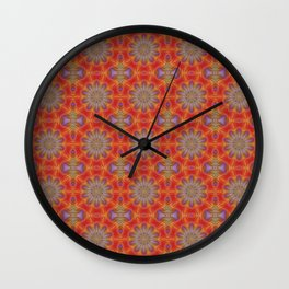 Red and Lilac Multicolored Repeat Pattern Wall Clock