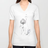 ballon V-neck T-shirts featuring Monsieur Grant et le ballon fou by MARIE.MARYE