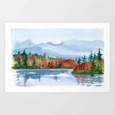 Mirror Lake in Autumn Art Print