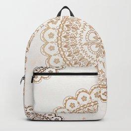 Cream gold mandala and marble Backpack