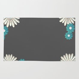 Gray,blue flowers Rug