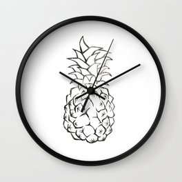 black and white pineapple Wall Clock