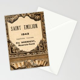 Vintage 1943 Saint Emilion Wine Bottle Label Print Stationery Cards