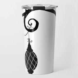 Burtonesque Branch with Ornament 3 / Black on White Travel Mug