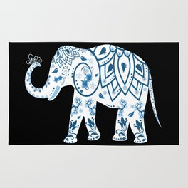 Decorated Elephant With Butterfly Rug