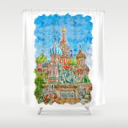 St Basils Cathedral Urban Sketching Shower Curtain