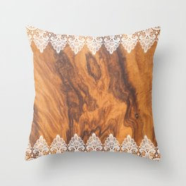 Brown Faux Wood& White Vintage Lace Throw Pillow