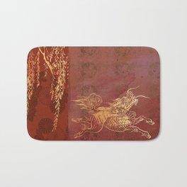 Caravans II:  Asian Print Happy Beast pink and gold Bath Mat