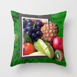 Modern Fruit Basket Still Life Throw Pillow