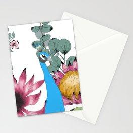 le paon et le jardin des fleurs Stationery Cards