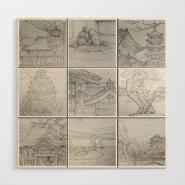 Sakura Japan sketches by David A Sutton. sketchbookexplorer.com Wood Wall Art