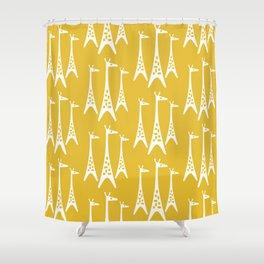 Mid Century Modern Giraffe Pattern 221 Mustard Yellow Shower Curtain