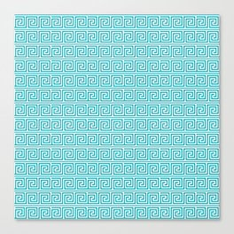 Aqua Greek Key Pattern  Canvas Print