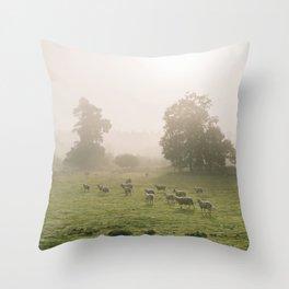 Sunrise burning through heavy fog over field of grazing sheep. Norfolk, UK. Throw Pillow
