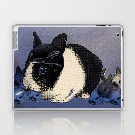 Blue Biker Bunny Print Laptop & iPad Skin