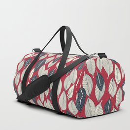 leaves and feathers red Duffle Bag