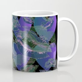 Blue Ombre Heart and Cold Kisses Pattern On Black Coffee Mug