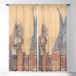 Rabbit with squirrel behind old Books #society6 Sheer Curtain