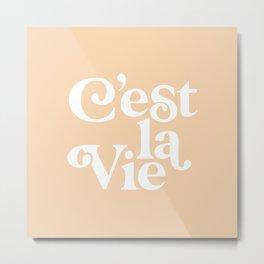 C'EST LA VIE pastel peach and white Metal Print