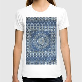 Old Bookshop Magic Mandala in Blue T-shirt