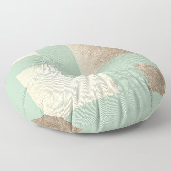 Simply Geometric White Gold Sands on Pastel Cactus Green Floor Pillow