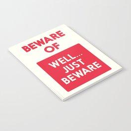 Beware of well just beware, safety hazard, gift ideas, dog, man cave, warning signal, vintage sign Notebook