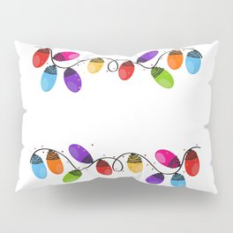 Colorful Christmas light bulb new year greeting card vector Pillow Sham
