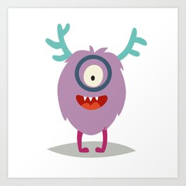 Emoji smart monster. Cute clever cyclop vector illustration Art Print