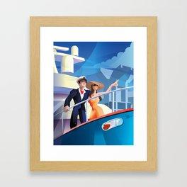 COUPLE ON YACHT Framed Art Print