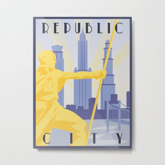 Republic City Travel Poster Metal Print