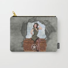Pinup Brunette Army Carry-All Pouch