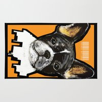 french bulldog Area & Throw Rugs featuring French Bulldog by Det Tidkun
