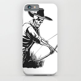 Cowboy skeleton with crossbow - black and white - gothic skull cartoon - ghost silhouette iPhone Case