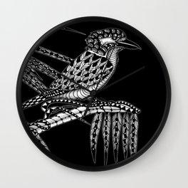 Tangled Kookaburra on Black Wall Clock